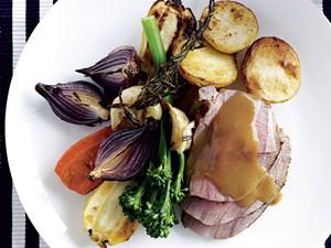 Quick mid-week roast lamb and vegetables