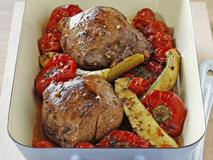 Roasted spiced lamb and vegetables
