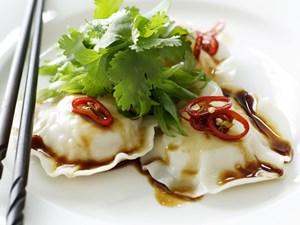 Seafood ravioli with sesame dressing