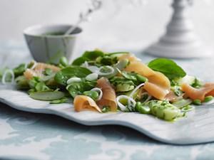 Smoked salmon and potato salad with herb vinaigrette
