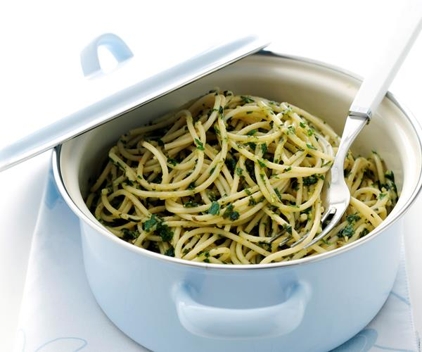 Spaghettini with parsley basil pesto recipe | Food To Love