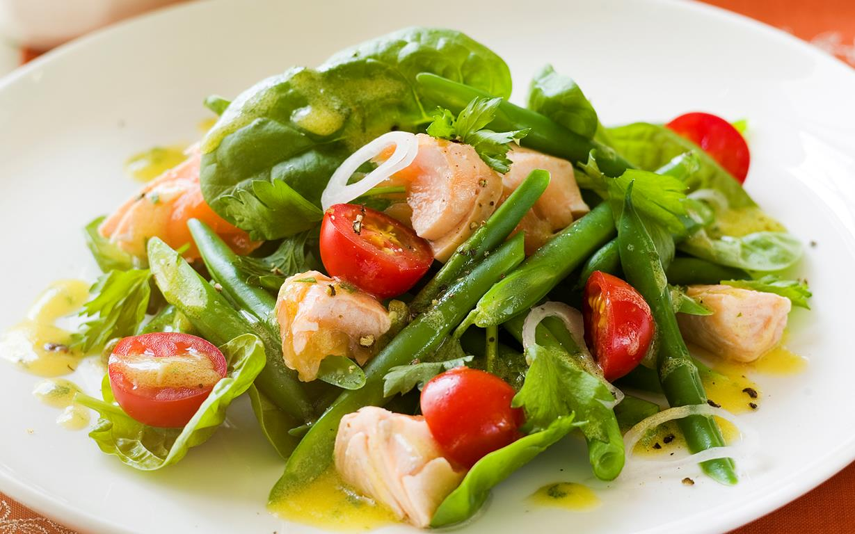Warm salmon salad with caper dressing, salmon recipe, brought to you ...