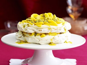 Mango and passionfruit meringue cake