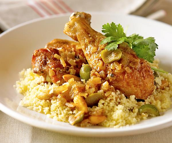 Moroccan-style chicken with buttered couscous recipe ...