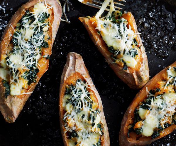 Kumara baked with silverbeet and mozzarella recipe | Food ...