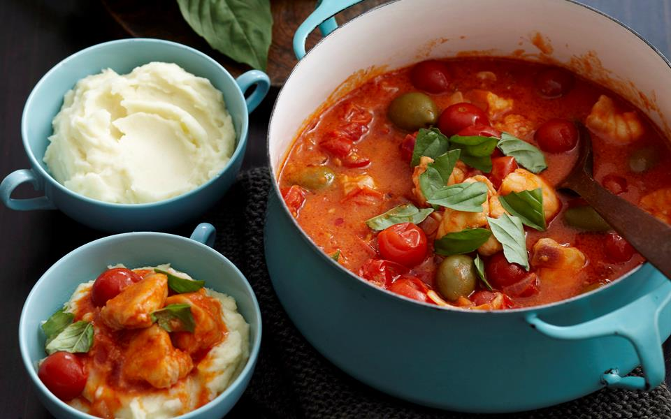 Fish tomato and olive stew on creamy mash recipe food for Creamy fish stew