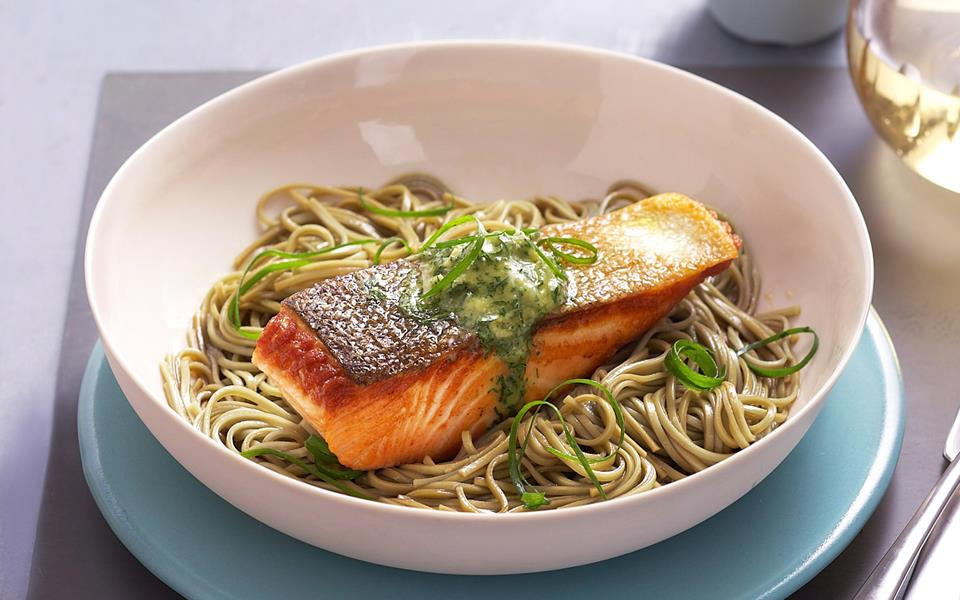 Grilled salmon steaks with wasabi and dill butter recipe ...