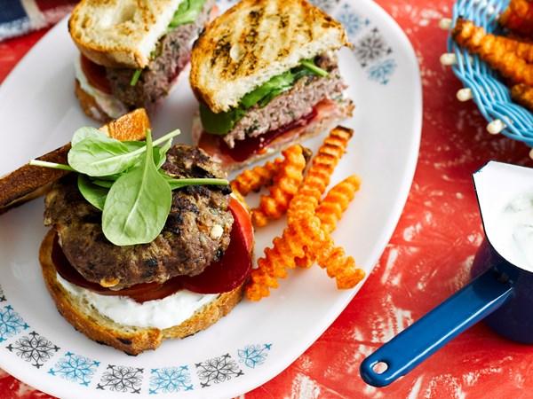 Lamb, fetta and tzatziki burgers