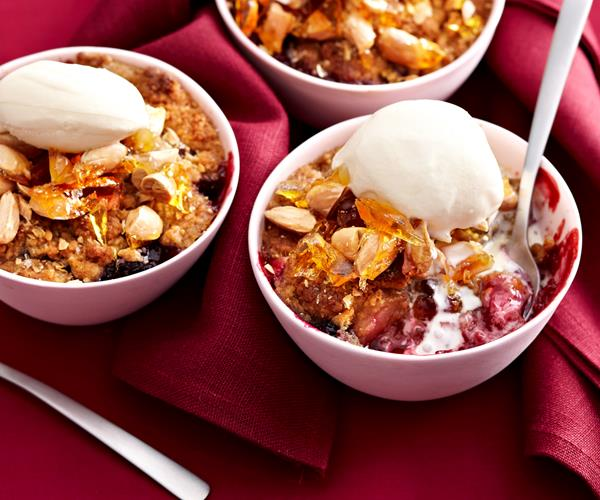 Mixed berry crumble with almond praline