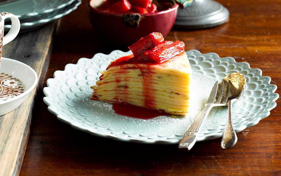 Orange curd crepe cake with rhubarb compote recipe | FOOD TO LOVE