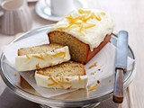 Orange poppyseed loaf with sour cream frosting