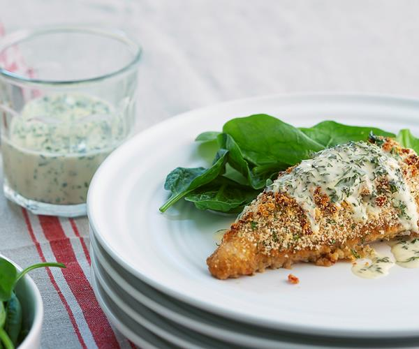 Parmesan chicken with creamy basil dressing recipe | Food To Love