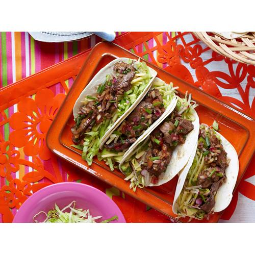 Smoky barbecued beef tacos with tomato dressing recipe | Food To Love