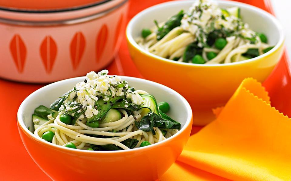 Spaghetti With Peas And Zucchini Ribbons Recipes — Dishmaps