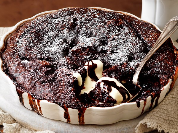 Chocolate and hazelnut self- saucing pudding