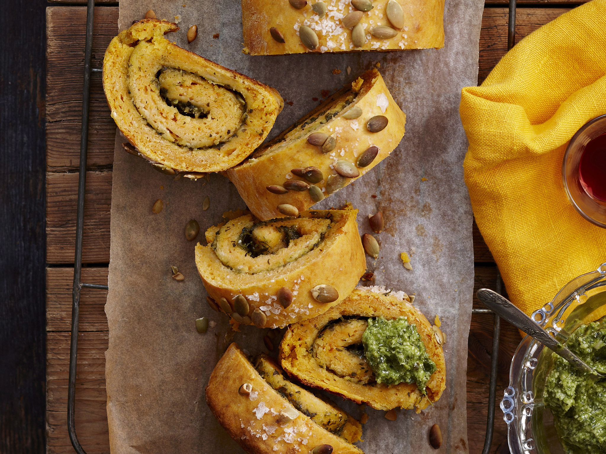 kumara and basil pesto log recipe food to love