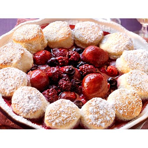 Plum, berry and coconut cobbler recipe | Food To Love