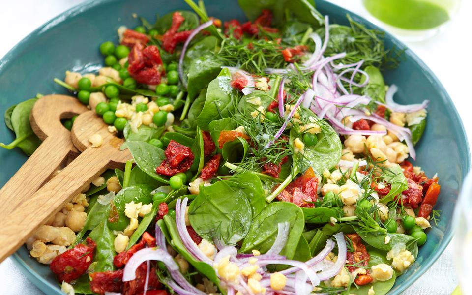 Smashed chickpea, semi-dried tomato and spinach salad recipe | FOOD TO ...