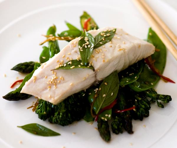 Steamed Fish With Garlic And Ginger Greens Recipe