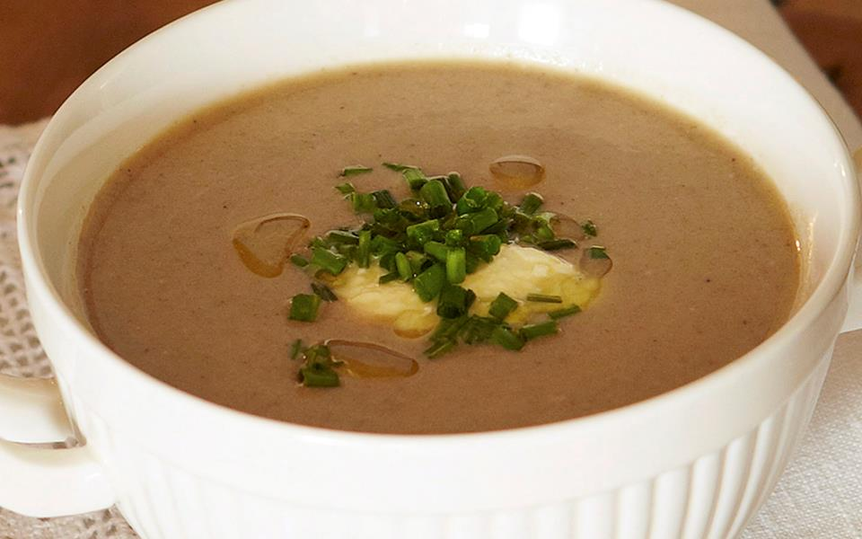 Mushroom soup with chives and truffle oil recipe   FOOD TO ...