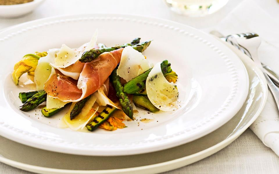 Asparagus, prosciutto, zucchini flower and parmesan salad recipe ...