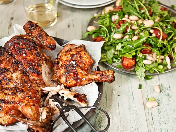 Barbecue chicken with chorizo and bean salad