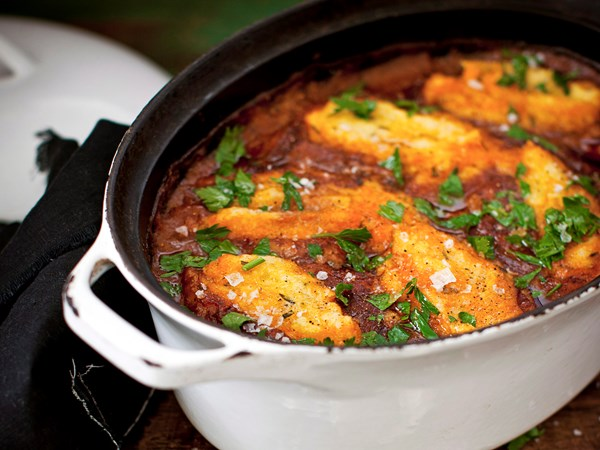 Beef and bourbon stew with polenta