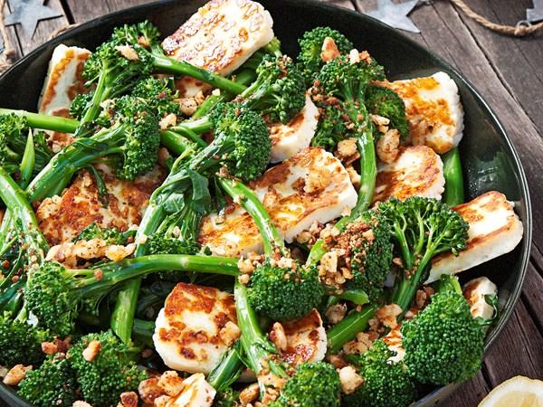 Haloumi, broccolini and lemon salad with crumb