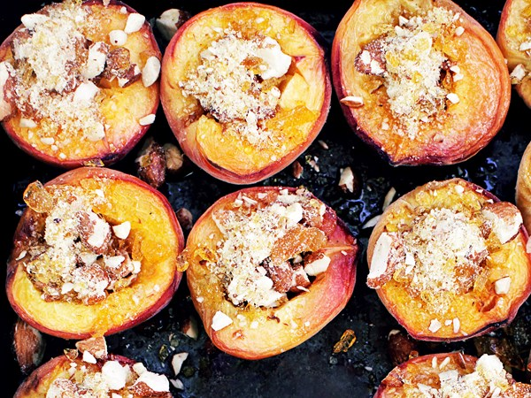 Honey baked peaches, with almond praline and mascarpone
