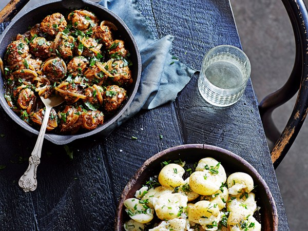 Pork, pear and cider meatballs with chive-crushed potatoes