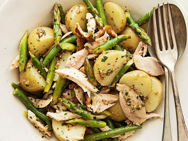 Smoked chicken, potato and asparagus salad