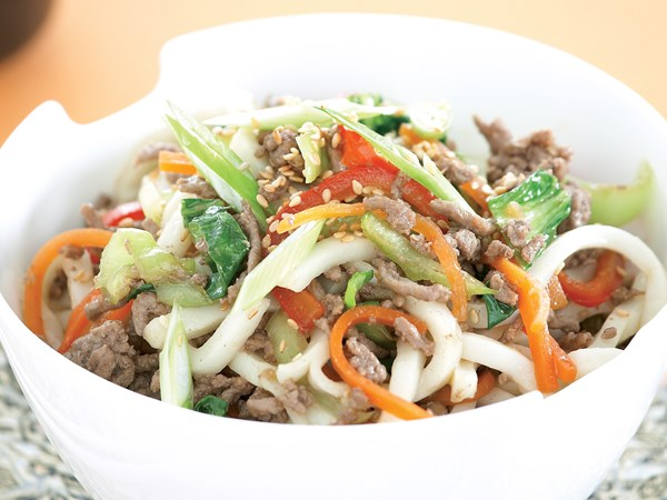 Teriyaki beef and udon stir-fry