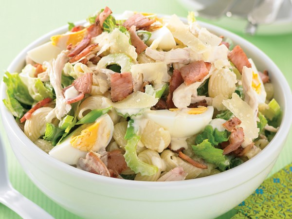 Creamy bacon and egg pasta salad