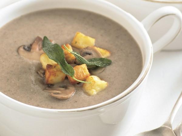 Mushroom soup with haloumi croutons