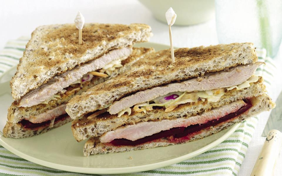 Triple-decker pork and slaw sandwich recipe | FOOD TO LOVE