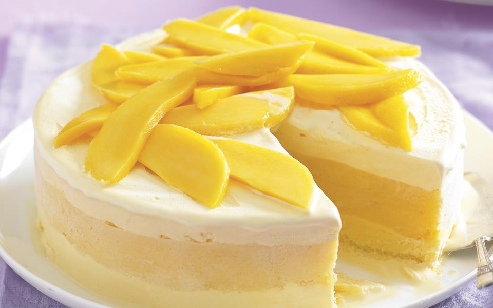 Mango sorbet and ice-cream layered cake recipe | FOOD TO LOVE