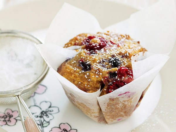 Mixed berry and oat muffins