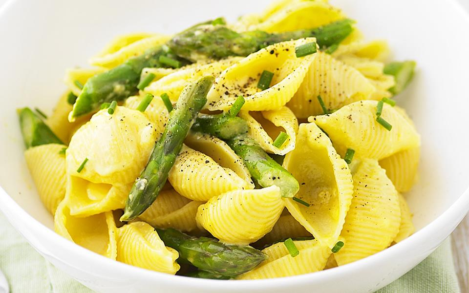 Baby Pasta Shells With Asparagus And Marinara Sauce Recipe ...