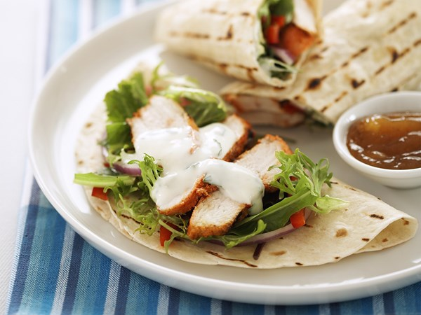 Tandoori wraps with yoghurt dressing