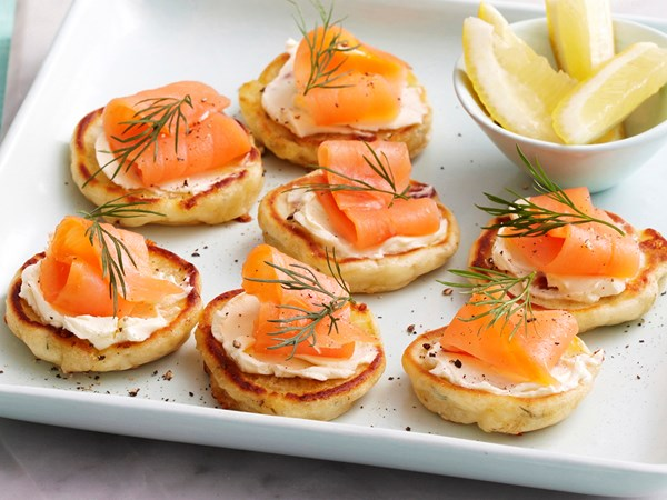 Cheese and dill blini with smoked salmon