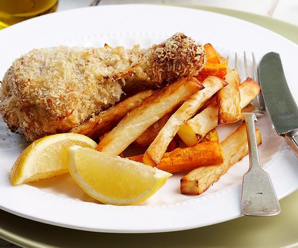 Crispy lemon chicken drumsticks and chips recipe | Food To Love