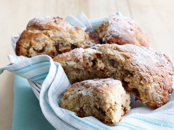 Date, walnut and banana scones