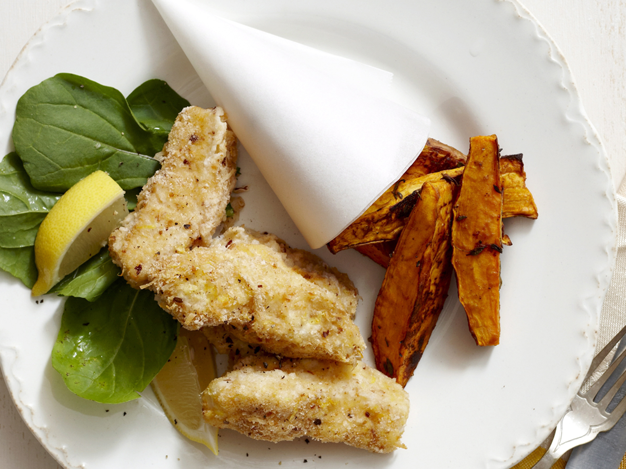 Crispy, Baked White Fish With Sweet Potato and Beet Curly Fries'