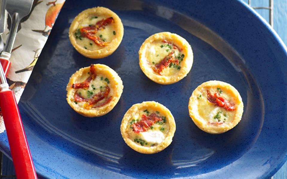 Goat cheese, salami and sun-dried tomato mini quiche recipe | FOOD TO ...
