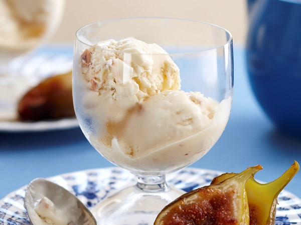 Honey hazelnut semifreddo with warm figs