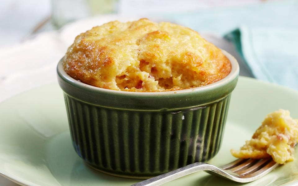 Individual creamed corn and bacon souffles recipe | FOOD TO LOVE