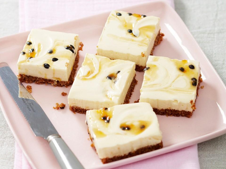 Lemon passionfruit cheesecake slice recipe