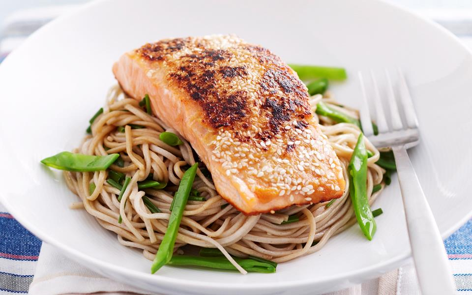 Miso and sesame salmon with soba noodles recipe | FOOD TO LOVE