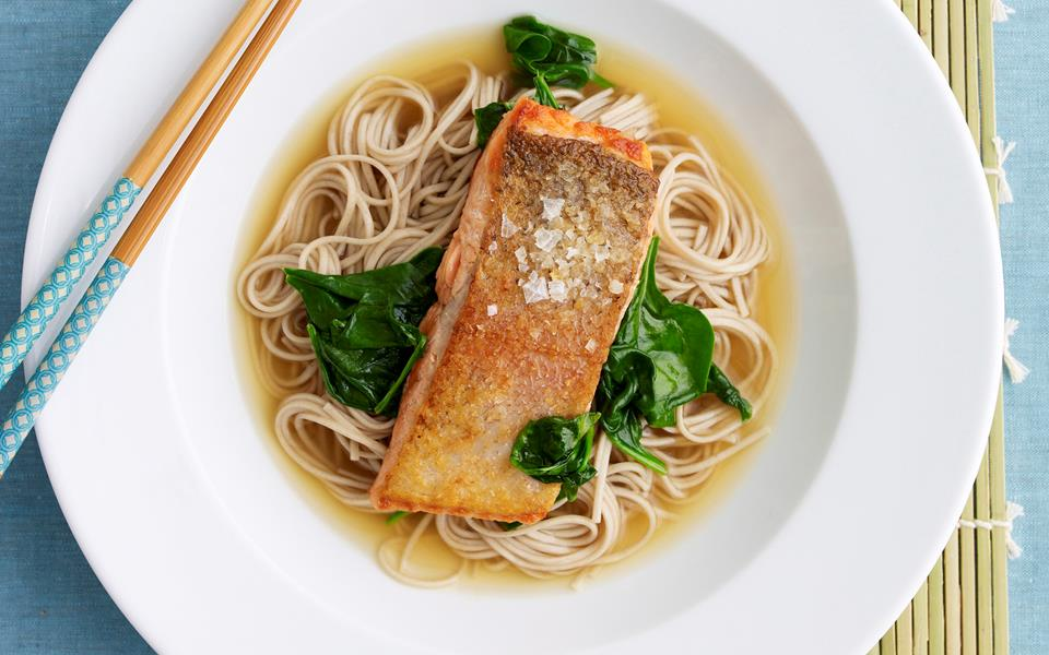 soba noodle soup with spinach and smoked trout soba noodle soup