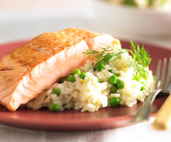 Pea And Dill Risotto With Salmon Recipe Food To Love